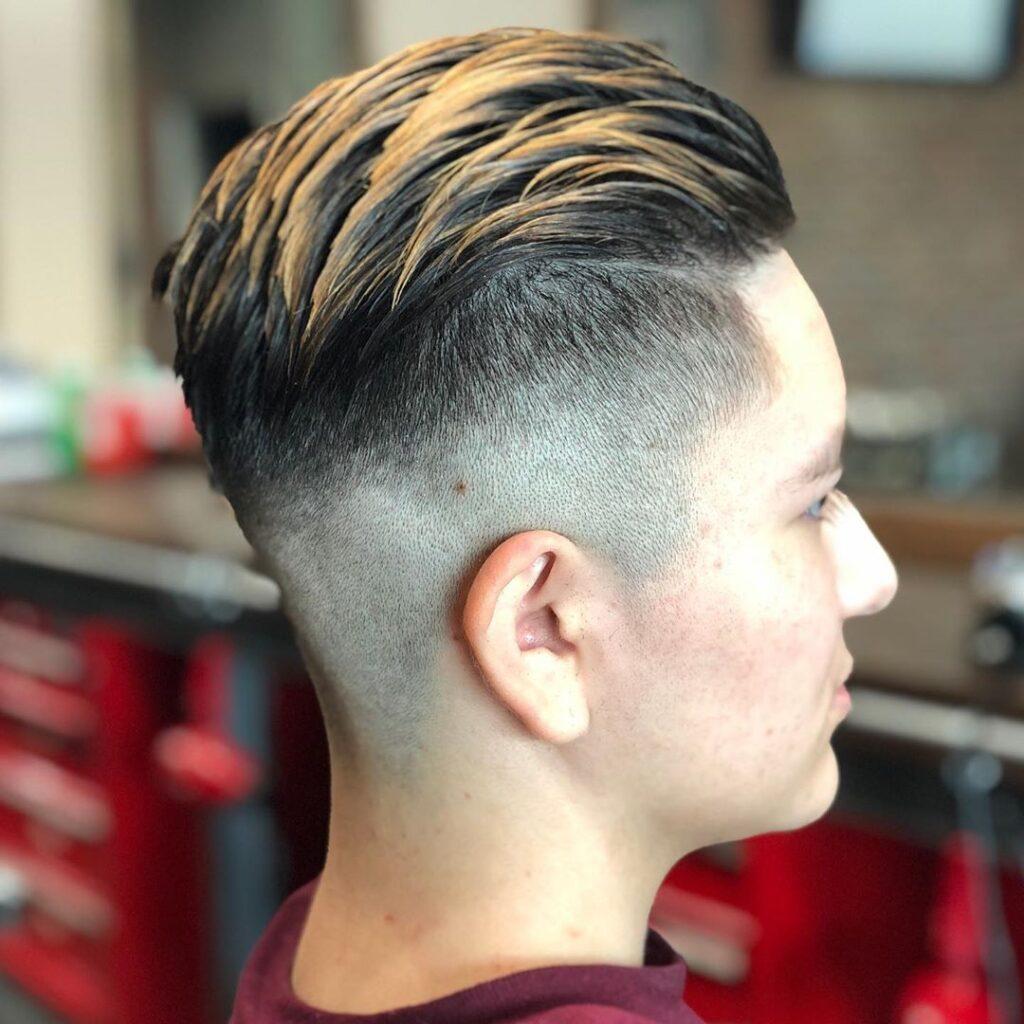Faded Undercut + Long Hair Slicked Back + Long Fringe