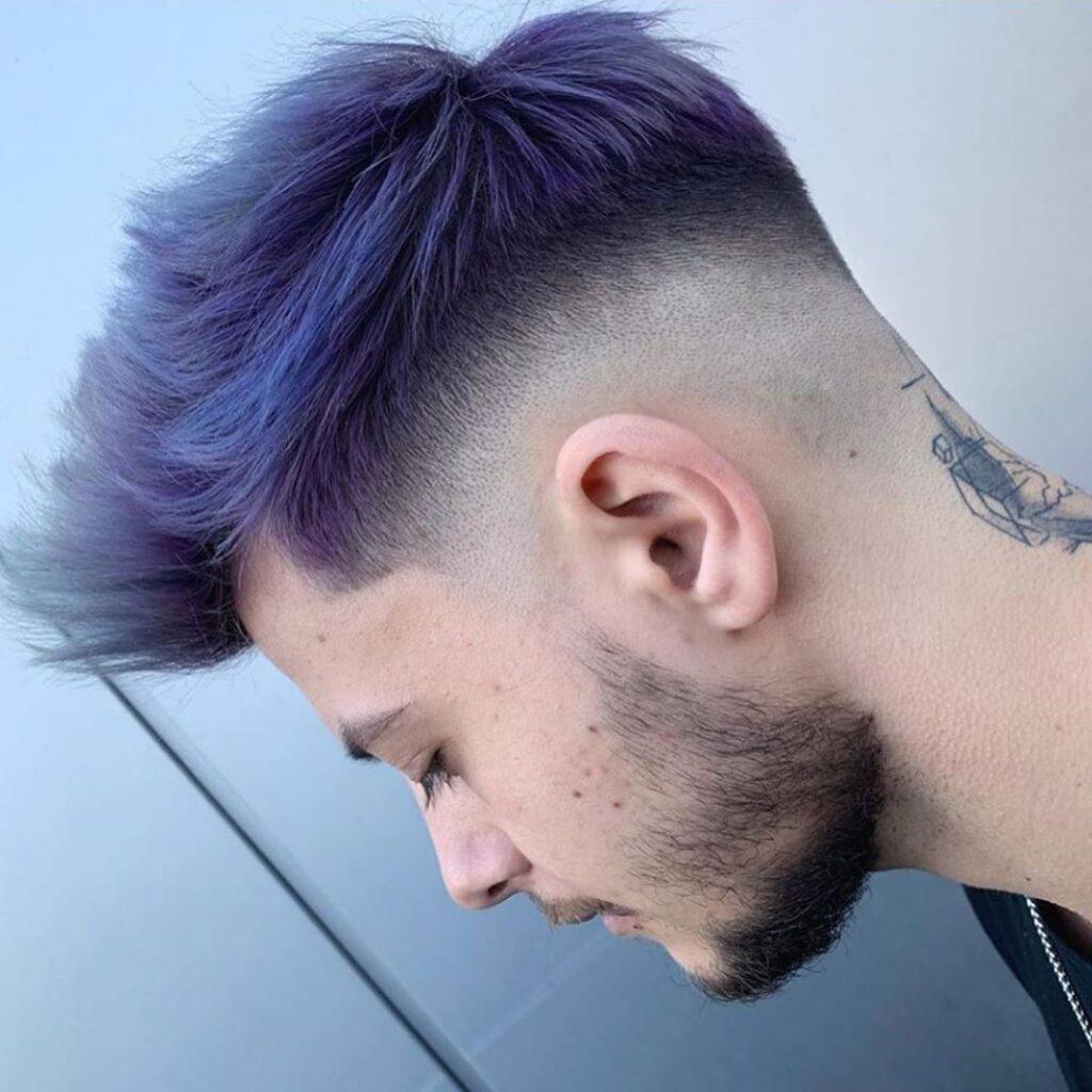 High Fade + Quiff Haircut + purple