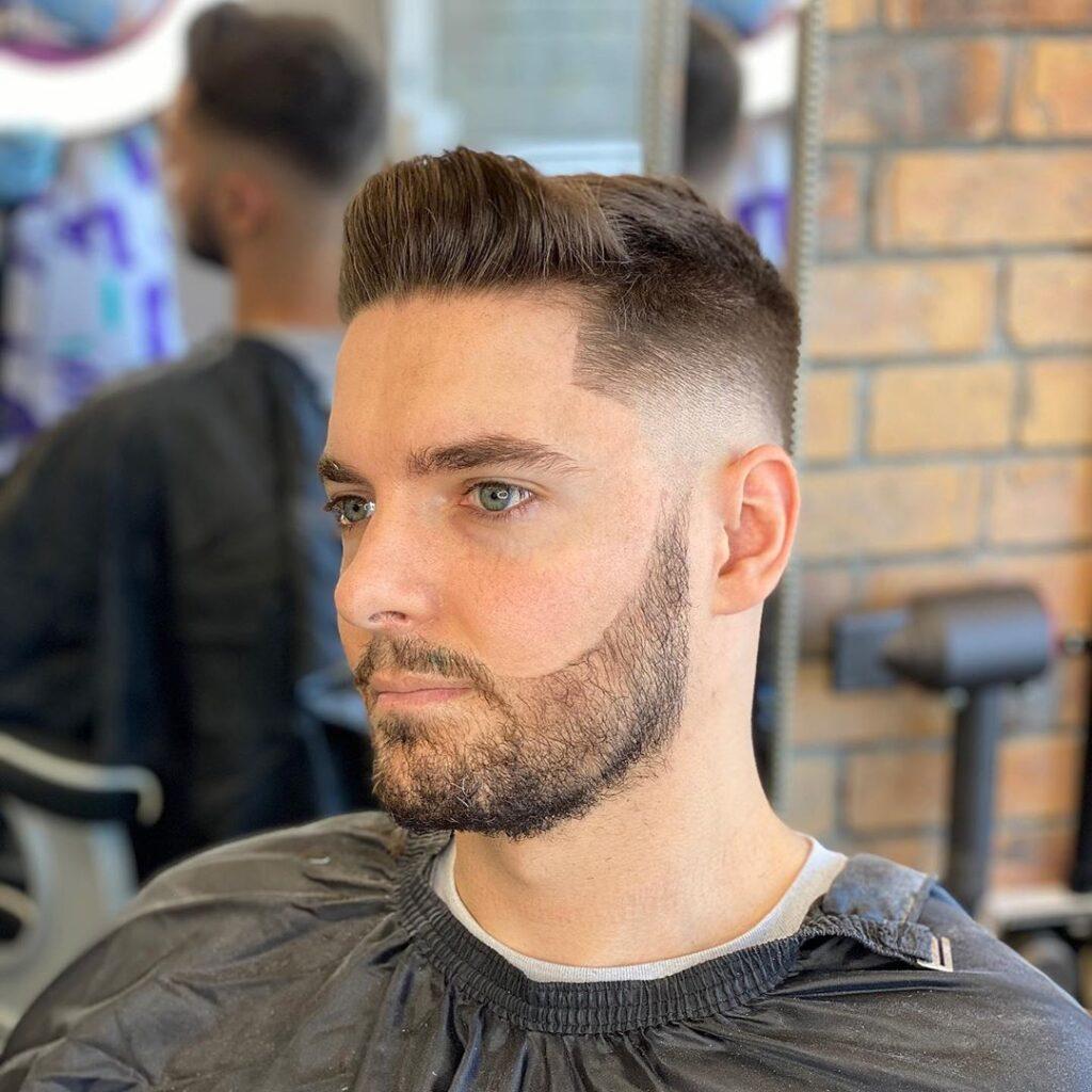 Mid fade + Medium Hair On Top Haircut