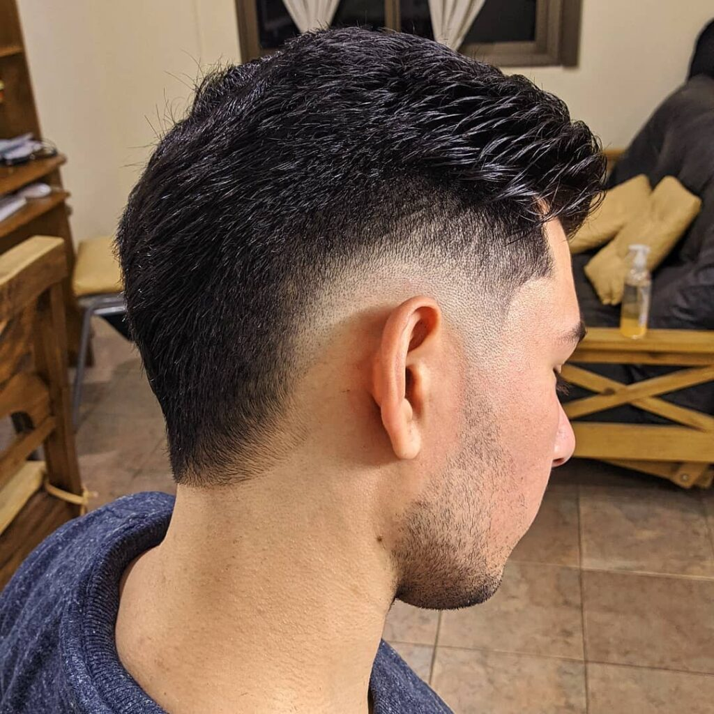 Burst Fade + Slicked Back Hair haircuts for men