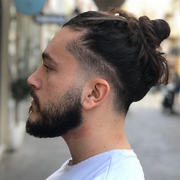 Men's Bun + Taper Fade Haircuts For Men